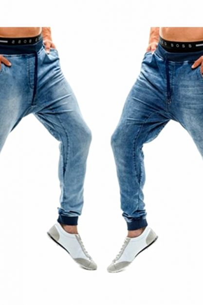 2020-New-Elastic-High-Waist-Jeans-European-and-American-Threaded-Waist-Jogging-Trousers-for-Men-Patchwork