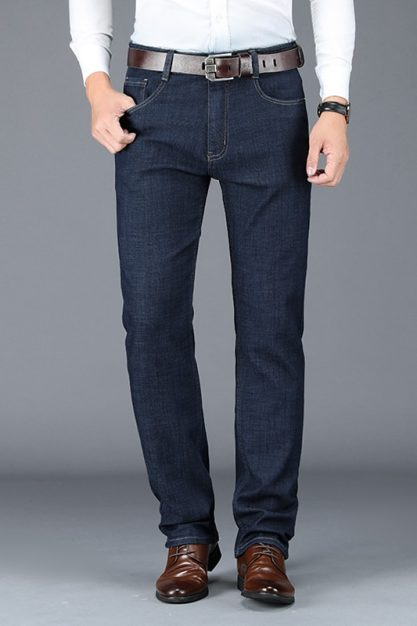 BROWON-Autumn-Thick-Jeans-for-Men-2020-New-Solid-Color-Business-Casual-Jeans-Loose-Straight-Soft