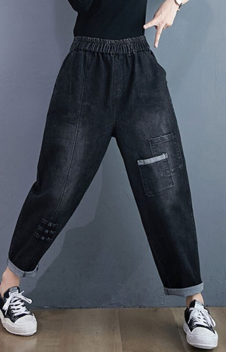 Women-Casual-Boyfriend-Jeans-New-2020-Autumn-Simple-Style-Solid-Color-All-match-Loose-Female-High-4